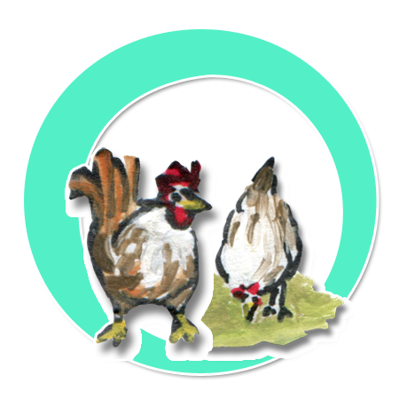 Der Hahn Siegfried und seine Hühner
