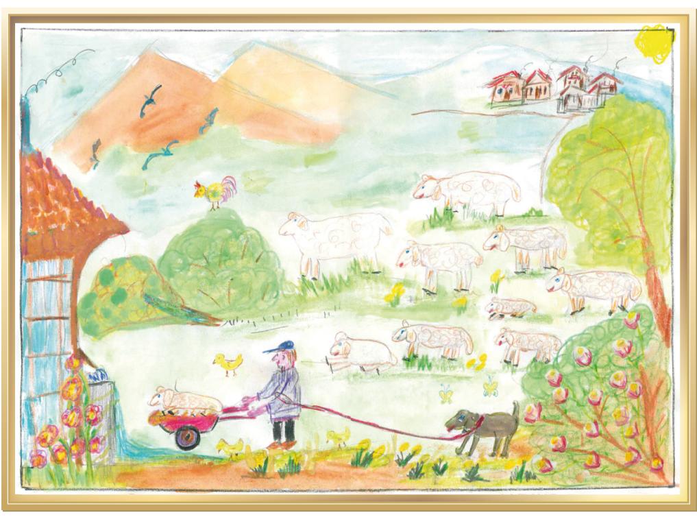Süße Lämmchen auf dem Bauernhof von Anton, 7 Jahre aus Hörpolding